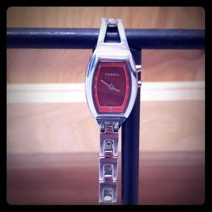 Fossil red watch